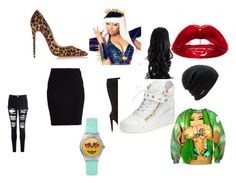 """lol"" by mumuliberho on Polyvore featuring mode, Christian Louboutin, Nicki Minaj, VILA, Glamorous, Coal et Giuseppe Zanotti"
