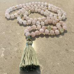 Rose quartz mala necklace - Infinite love by thetiltedmoon on Etsy Pink Quartz, Rose Quartz, Tassel Necklace, Beaded Bracelets, Finding Love, Silk Thread, Infinite, Necklace Lengths, Gemstones