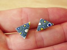 Modern triangle stud handmade polymer clay earrings, Royal blue, Yellow, white and sea green colors by modernmelon on Etsy