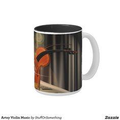 Artsy Violin Music Two-Tone Coffee Mug