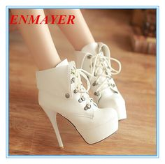 ENMAYER Size 34-43 Women Warm Fur Boots Sexy High Heels 13.5cm Round Toe Platform Lace Up Ankle Boots Winter Dress Casual Shoes $60.66 - 66.66