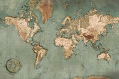 Papier peint panoramique carte du monde, Scenolia