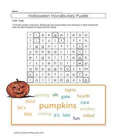 Easy Halloween Word Search Halloween Vocabulary, Halloween Puzzles, Halloween Words, Halloween Activities, Thanksgiving Word Search, Thanksgiving Words, Crossword Puzzles, Vocabulary Building, English Language Learners