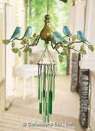 Bird wind chime    I think this is so pretty....and these dont poop on your porch ;)