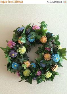 Pinecone Zinnia Wreath, summertime wreath
