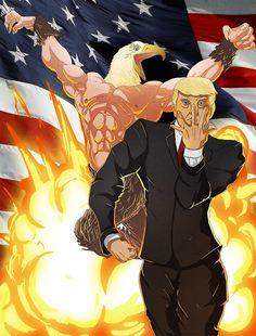 'Trump's Bizarre Election - Jojo's Bizarre Adventure Trump' Poster by Jojo's Bizarre Adventure, Jojo Jojo, Anime Meme, Trump Poster, Funny Images, Funny Pictures, Bd Art, Star Spangled Banner, Jojo Memes