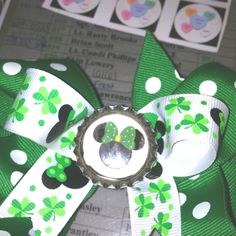 Minnie mouse St Patrick's bow