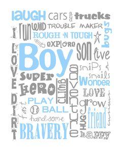 All Boy Subway Art Print 8X10 for Nursery or by MyPoshDesigns, $18.00