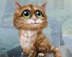 Keane Big Eyes Paintings 1961 | Big eye cat painting, tabby cat pri nt, Keane inspired Cat Artwork ...