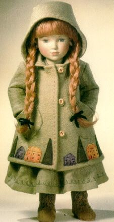 ''Gabrielle'' or Gabriella, by Maggie Iacono, 1998. Cloth doll made of felt with appliquéd & embroidered felt coat.