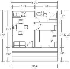Planos Casas de Madera Prefabricadas: Casa de madera de 29 m2 Cod.00118