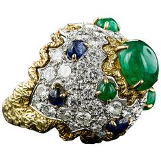 1960s Sapphire Emerald Diamond Bombe Ring | From a unique collection of vintage dome rings at https://www.1stdibs.com/jewelry/rings/dome-rings/
