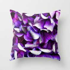 Purple and Blue Flowers Throw Pillow by artstudio54 -