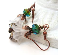 Lucite Flower Earrings Frosted Glass