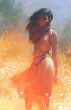 Meadow - Digital painting by Lane Brown 3d Fantasy, Fantasy Kunst, Anime Art, Manga Anime, Arte Disney, Fantasy Characters, Traditional Art, Art Inspo, Art Girl