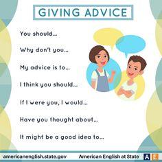 giving advice in English English Vinglish, English Writing, English Study, English Grammar, English Vocabulary Words, English Phrases, Learn English Words, English Lessons, English Articles