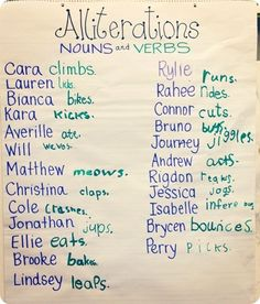 Alliterations with students names