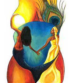 Duas energias da Mãe Terra: Yemanjá e Oxum, lado a lado de mãos dadas! Odoyá! Yeyê ô!