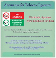 Alternative for Tobacco Cigarettes - Are you still confused in traditional tobacco cigarettes and electronic cigarettes? Electronic cigarettes will provide you same satisfaction which you expect from tobacco cigarettes. Electronic contains a battery and flavored liquid. This liquid is used for creating a vapor cloud with the help of battery.