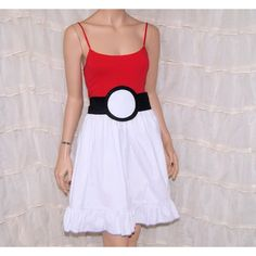 Pokeball Summer Tank Top Dress Cosplay Costume Adult Small Medium... ($80) ❤ liked on Polyvore featuring costumes, dresses, silver, women's clothing, cosplay halloween costumes, adult ladies halloween costumes, lady costumes, adult pokemon costumes y adult halloween costumes