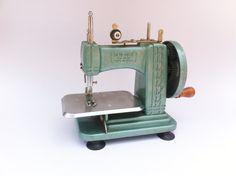 Vintage Mid century industrial 1950s jade chrome antique Sew-Rite