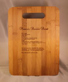 Cutting Board Recipe Laser Engraved on Bamboo