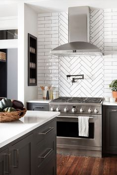 Simple and Ridiculous Tips and Tricks: Backsplash Bathroom Fixer Upper grey subway tile backsplash.Stainless Steel Backsplash Behind Stove backsplash with white cabinets ideas. Fixer Upper Kitchen, New Kitchen, Kitchen With Subway Tile, Kitchen Black, Kitchen Nook, Behind Stove Backsplash, Backsplash Ideas For Kitchen, Kitchen Cabinets With Black Appliances, Grey Cabinets