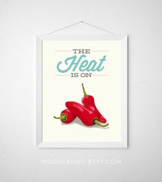 Pepper Kitchen Print - The Heat is on - Poster art decor cooking veggie red hot vegetable quote modern minimal aqua pastel fun chili pepper