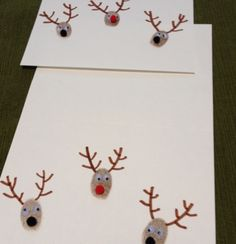 DIY Christmas Cards - Thumb Print Rudolphs - Click pic for 25 Holiday Crafts