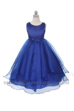 Girls Dress Style 0302- ROYAL BLUE Sleeveless Satin and Organza Layered Dress with Bead Waistline $39.99