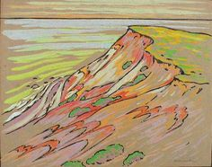 """Gay Head Cliffs,"" Arthur Wesley Dow, ca. 1895, woodcut, hand tinted with gouache, 6 1/4 x 7 7/8"", private collection."