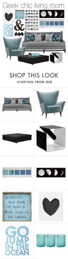 """""""Geek Chic living room"""" by jess ❤ liked on Polyvore featuring interior, interiors, interior design, home, home decor, interior decorating, Brownstone, VerPan, Robert Wiener and Pink Marmalade"""