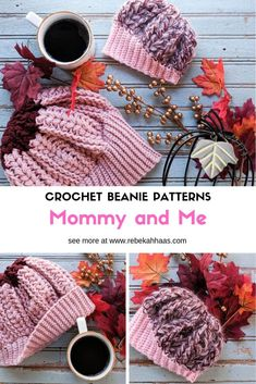 This unique free crochet beanie pattern features an asymmetrical brim, front post stitches, and puff stitches. The crochet pattern creates a stunning fall accessory for any age! Diy Crochet Patterns, Crochet Beanie Pattern, Crochet Patterns For Beginners, Crochet Designs, Free Crochet, Hat Patterns, Crochet Boot Cuffs, Crochet Hats, Ombre Yarn