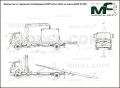 Evacuator with a sliding platform and AMC Veba on chassis AVIA - drawing (blueprints) - 40949 - Model COPY - Adobe Illustrator, 3d Modeling Programs, 3d Modelle, Photoshop, Autocad, Scale Models, 2d, Platform, This Or That Questions