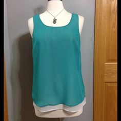 "Relativity Double Layer Tank Slightly Sheer Double Layer Tank, Teal Green over Light Grey Layer.  Never Worn.  25"" Shoulder to Hem. Relativity Tops Tank Tops"