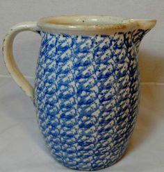 RARE Antique Stone Ware Spongeware Cobalt Blue White Crock Water Pitcher AAFA