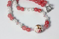 Necklace Cherry Quartz and Pearls by #NancysCrystalFantasi #jewelryonetsy #jetteam
