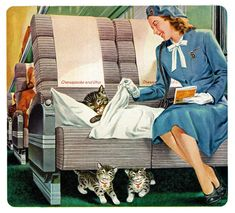 """Cutest kittens in advertising are under this seat! """"Where There's Chessie, There's Comfort'"""" """"Chessie"""" mascot for the Chesapeake and Ohio Railway, 1948 Crazy Cat Lady, Crazy Cats, I Love Cats, Cool Cats, Old Ads, Vintage Cat, Cat Drawing, Vintage Travel Posters, Illustrations"""
