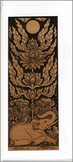 Thai traditional art Lotus by silkscreen printing on Sepia paper card_a