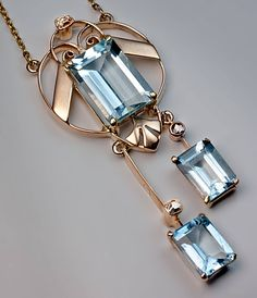 Early Art Deco Russian Aquamarine Gold Necklace image 3