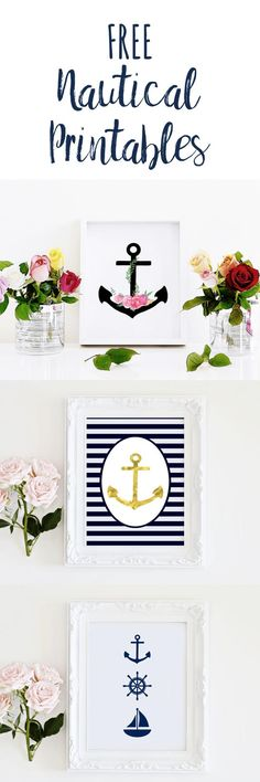 Free nautical printables to add to your wall decor. Prints come in navy and white and black and white. Multiple anchor and sailboat artworks to choose from.