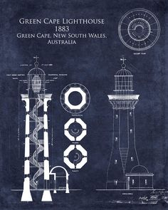 Green Cape Lighthouse Print featuring the digital art Green Cape Lighthouse Blueprint by Sara Harris Lighthouse Drawing, Lighthouse Art, Lighthouse Pictures, Blueprint Art, Black And White Prints, Technical Drawing, Great Artists, Art Prints, Blue Prints