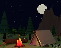 Low Poly Scene – Camping in the forest – rendered version + wireframe versionCreated on with Blender Asset – Game Development – Digital ArtThe idea for this scene came in my mind while an daily bus ride. 3d Assets, Blender 3d, Low Poly, New Work, Behance, Scene, Camping, Gallery, Check