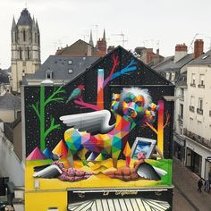 "Okuda, ""Lyon from Apocalypse"" in Angers, France, 2017 3d Street Art, Street Artists, Okuda, Abandoned Factory, Visionary Art, Weird Art, Outdoor Art, Spray Painting, Public Art"