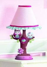 Infant Baby Lamp Girl Nursery Pink Owl Nightstand Kids Room Child Who ...