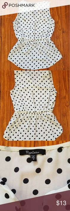 Monteau Polka Dot Peplum In good used condition!!   Cream with black polka dots Antique gold buttons with slight fading and scratches Notched scoop neck Peplum waist 2 Chest pockets Small blue spot on bottom left corner of left pocket Haven't tried to spot remove...likely ink.  Adorable on!! Monteau Tops Blouses