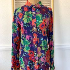 J. Crew Tops | Jcrew Iconic Multicolored Floral Print Silk 6 | Poshmark Roll Up Sleeves, Cotton Silk, Blossoms, Colorful Shirts, J Crew, Floral Prints, Button Down Shirt, Stripes, Outfits