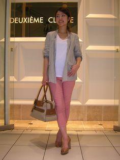 スリムストレッチ8分丈パンツ(DEUXIEME CLASSE) ¥9,450 COL:ピンク