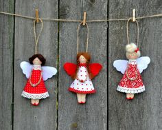 Christmas is coming! by Ekateryna on EtsyItems similar to Christmas ornament. Fairy decoration for christmas tree.When it comes to Christmas, there are so many magical Tilda projects to make! Here's a round-up of our favourite Christmas ideas with Ti Wooden Christmas Decorations, Christmas Ornaments To Make, Christmas Sewing, Angel Ornaments, Hanging Ornaments, Felt Ornaments, Felt Crafts, Christmas Crafts, Christmas Ideas