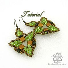 PDF Tutorial Mercia Earrings with SuperDuos, Fire Polish Crystals and Czechmates Tile beads. Beadwork Pattern, instructions